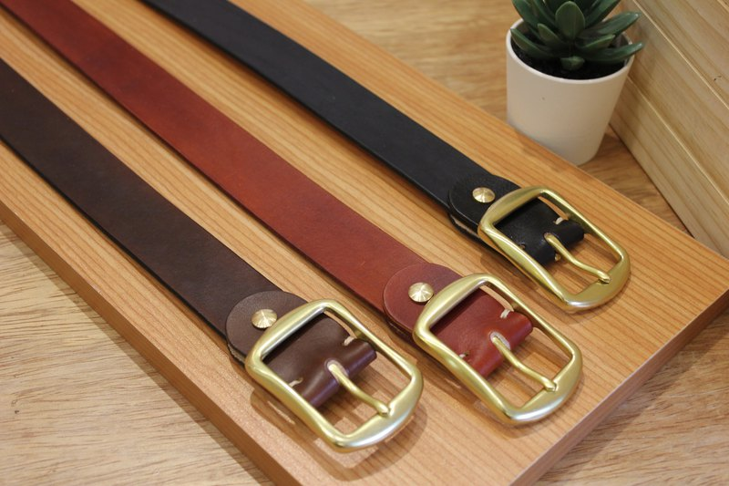 [Mini5] classic day head belt (brown) / hand dyed vegetable tanned leather 3.2cm wide belt