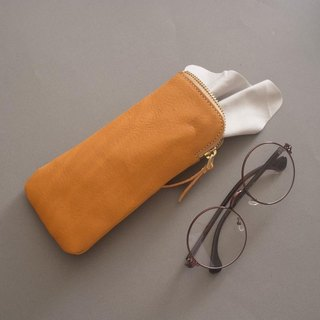 """RENÉE"" L zipper-shaped eyeglass bag / eyeglass bag / pencil bag plant tanning carved leather / plant tannage / vegetable tannage yellow"