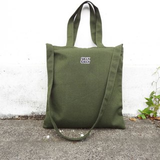 【Beginning of the course】 Sharp Shili LOGO Army Green University / A4 / double cloth / inner bag / zipper / dual-use canvas bag