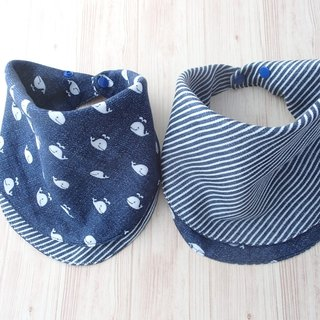 Baby Bib, 口水巾, Reversible Scarf Bib, Handkerchief Bib, White Whale on Navy Denim