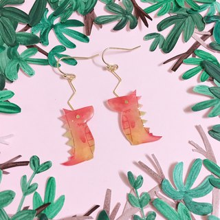 A pair of dinosaur and Flower Earrings