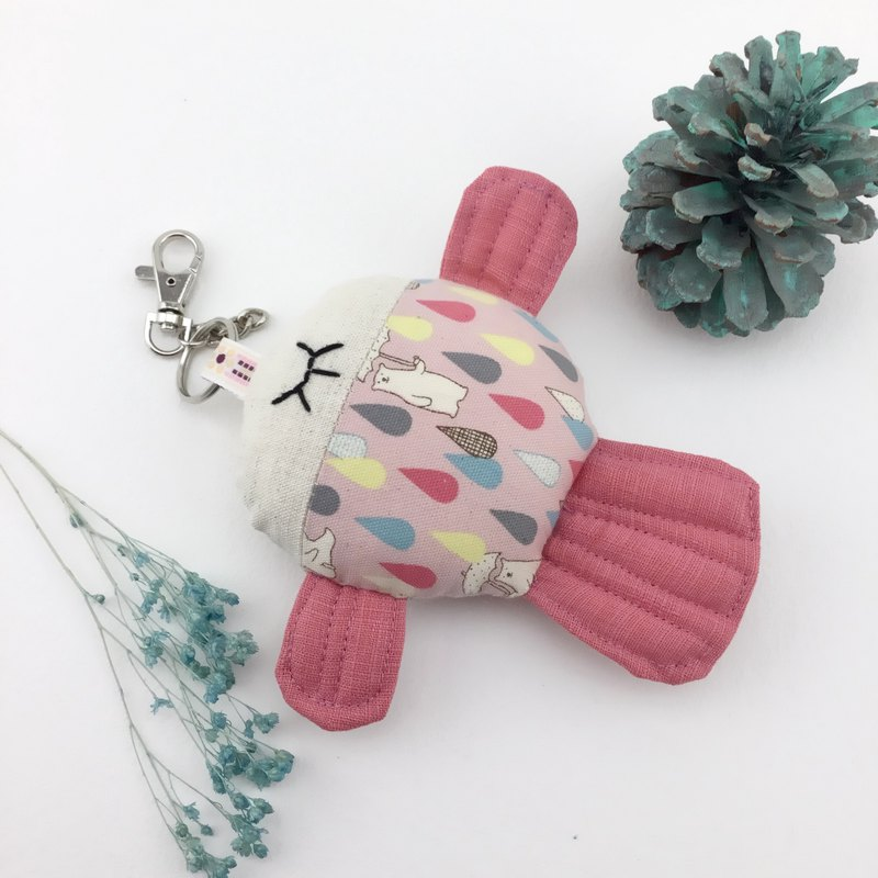 Super cute round roll - fish fish charm / key ring