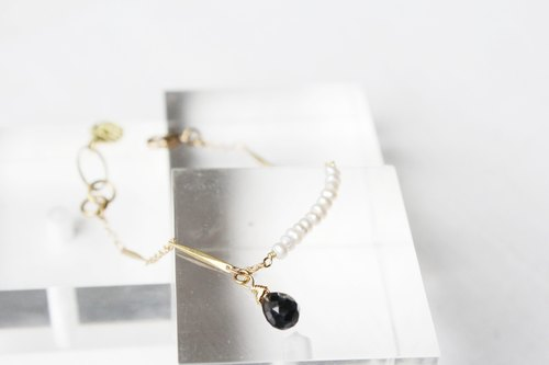 【JULY-birthstone-Spinel】pearl design smile series design bracelet (adjustable)