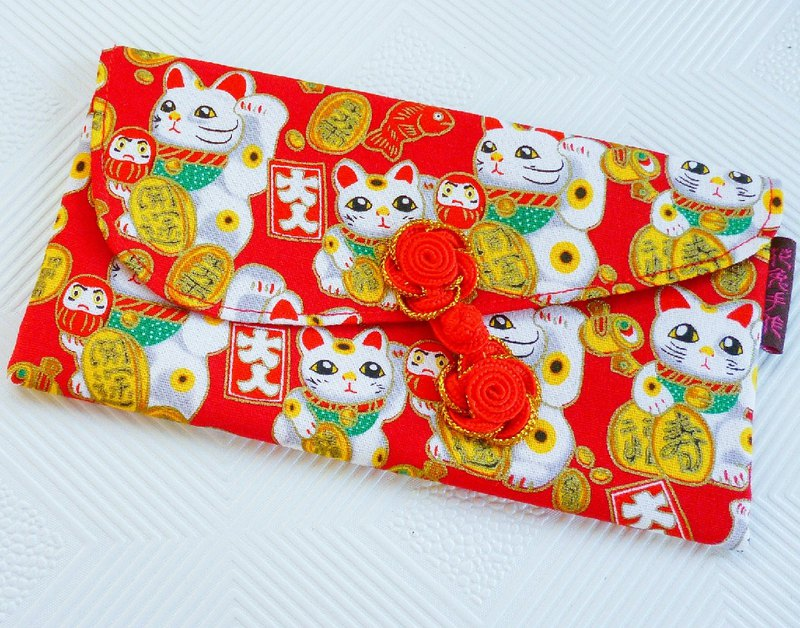 Fucai China Button Lucky Cat - Four Red Bags / Money Bag / Passbook Bag (Limited)