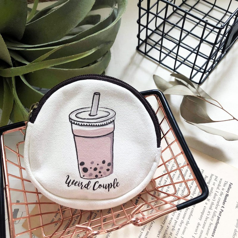 Pearl milk tea double-sided pattern coin purse one