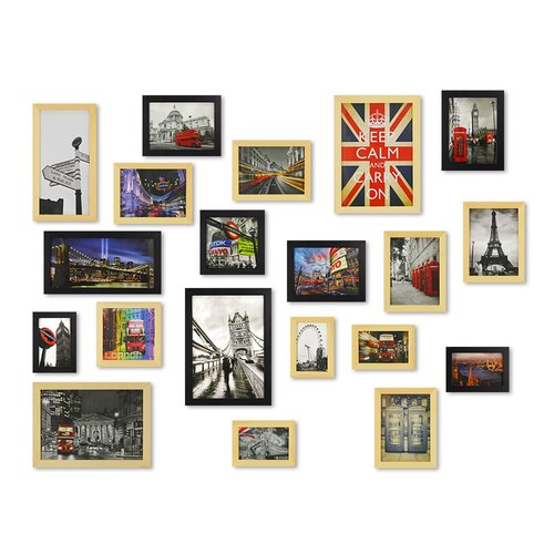 HomePlus PhotoFrame Lightbrown+Black 20PCS City Decor Loft