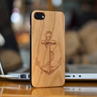 Personalized custom laser engraving natural anchors iPhone 6 / 6s / 6 plus / 6s plus / 7/7 plus wood + green frosted plastic phone shell