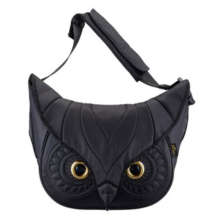 Morn Creations genuine classic shoulder bag owl No. L - Black (OW-211)