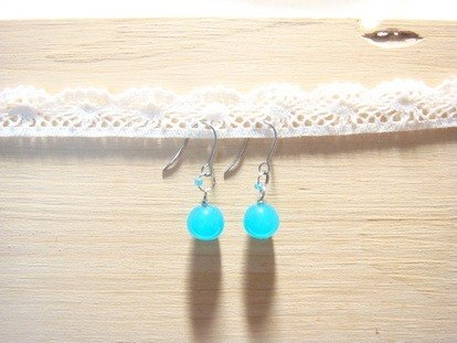 Grapefruit Forest Handmade Glass - Wild Earrings Candy Color - Blue Soda Sugar (Can Be Clipped)