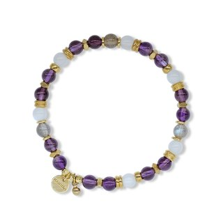 String Series Brass Amethyst White Moonlight Labradorite Bracelet Natural Mineral Crystal