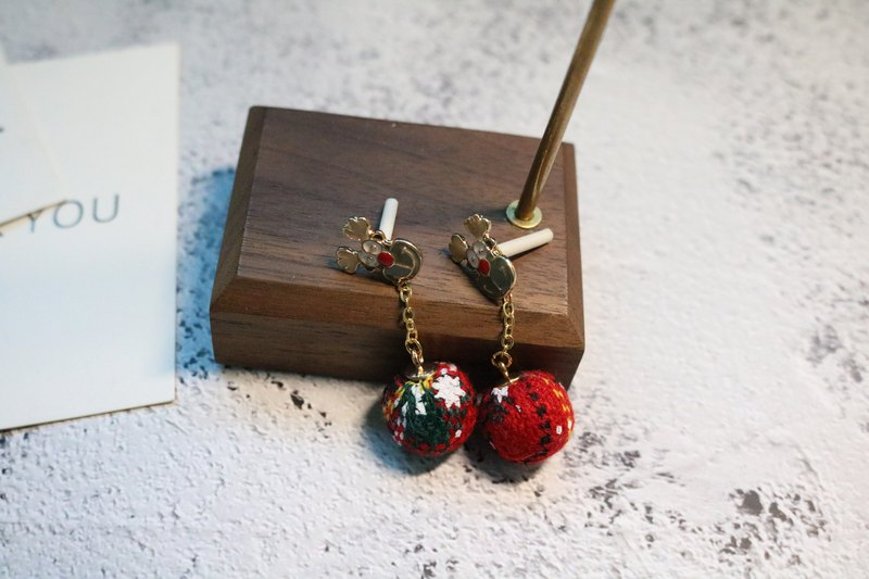 Christmas elk earrings, woollen Ball Earrings