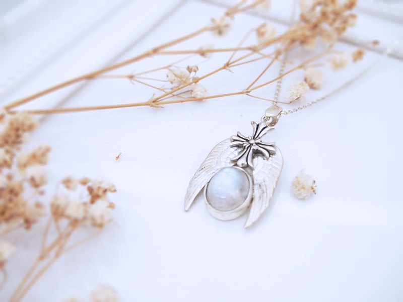 Faith Cross Moonstone Pure Silver Pendant (Single Price)