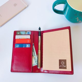 [La Fede] 植鞣-AQUA Series - Passport Holder Deep Wine Red