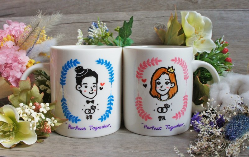 Marriage / Anniversary - Custom Q version portrait / beautiful love to the cup _ mug