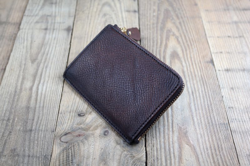 APEE leather handmade ~ L-shaped cloth / short wallet ~ 甩 pattern ~ retro chocolate