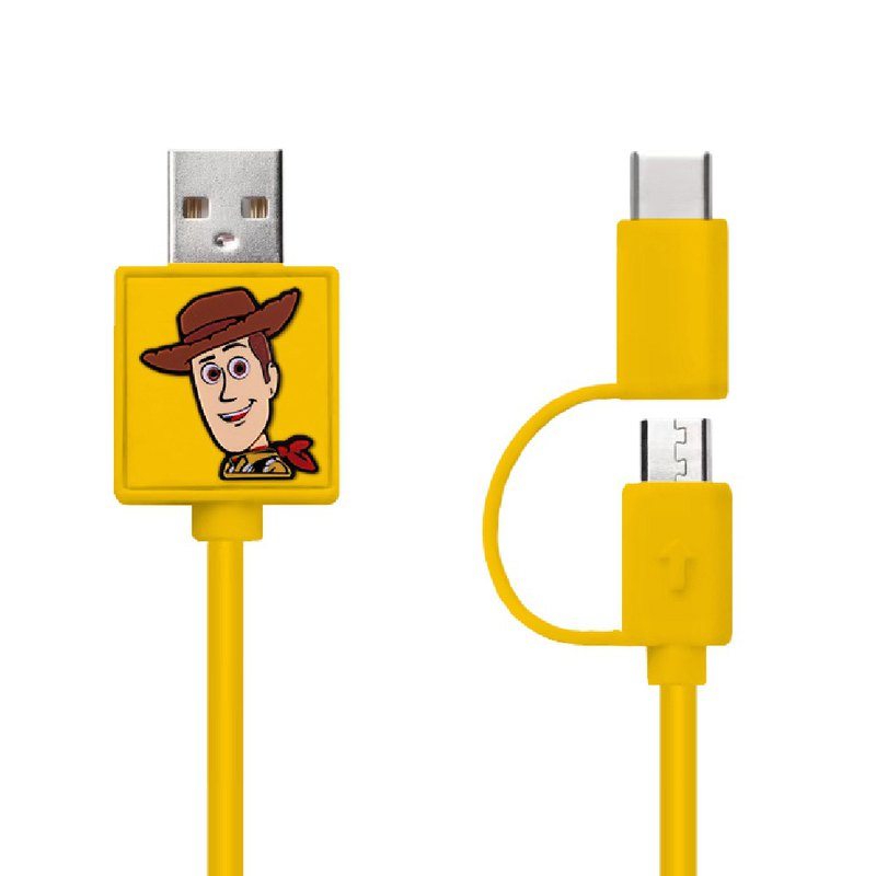 Woody 2-In-1 Micro USB & Type C Sync Data  and Charging Cable 0.7M