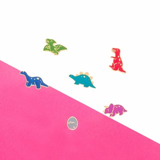 A group of six dinosaurs - Mini Jurassic series of hand-made ear pins