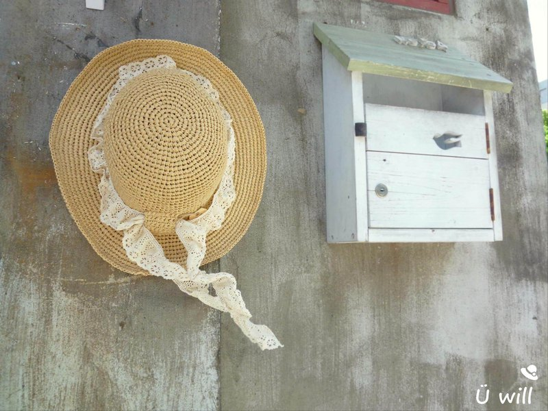 Lace satin band cap / summer sun hat / woven straw hat / hand made crochet hat