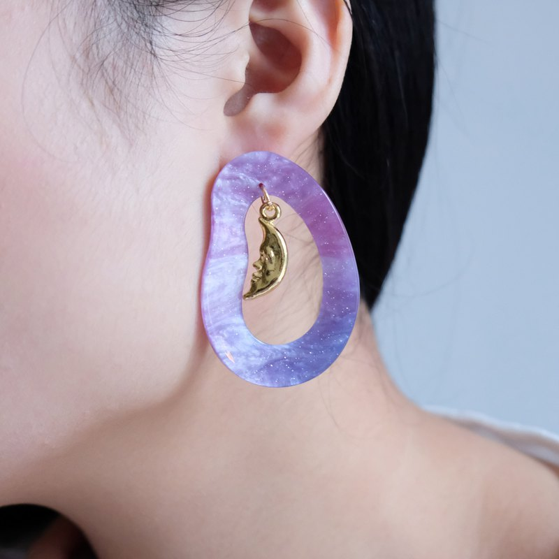ALYSSA & JAMES Moon Series Purple Night Sky Flashing Earrings