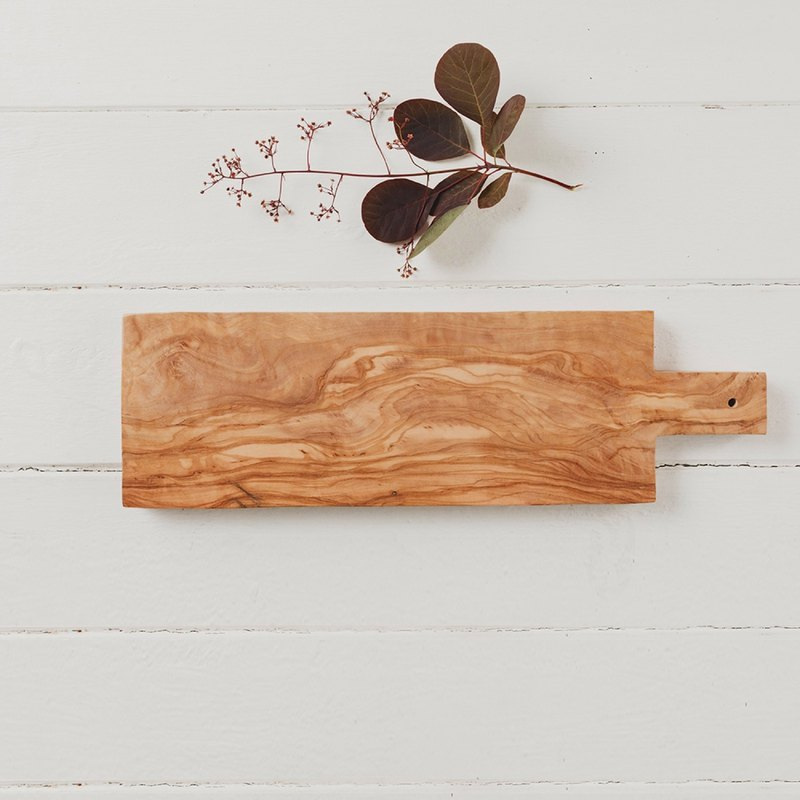 British Naturally Med olive wood rectangular 40 cm with handle cutting board / board / display board
