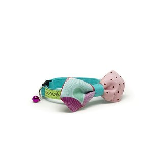GOOOD Cat Collar | Mighty Angled Bow - Morning Glory | 100% Pink & Turquoise Fabric | Safety Breakaway Buckle