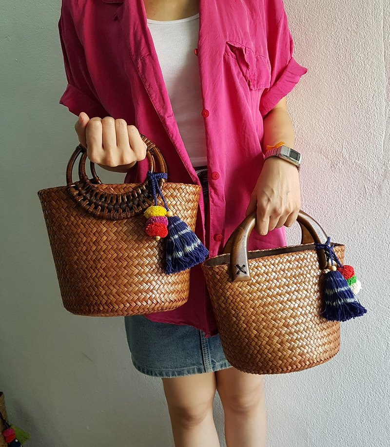 Straw Bag, Top Handles Bag, Thai Weaving Seagrass