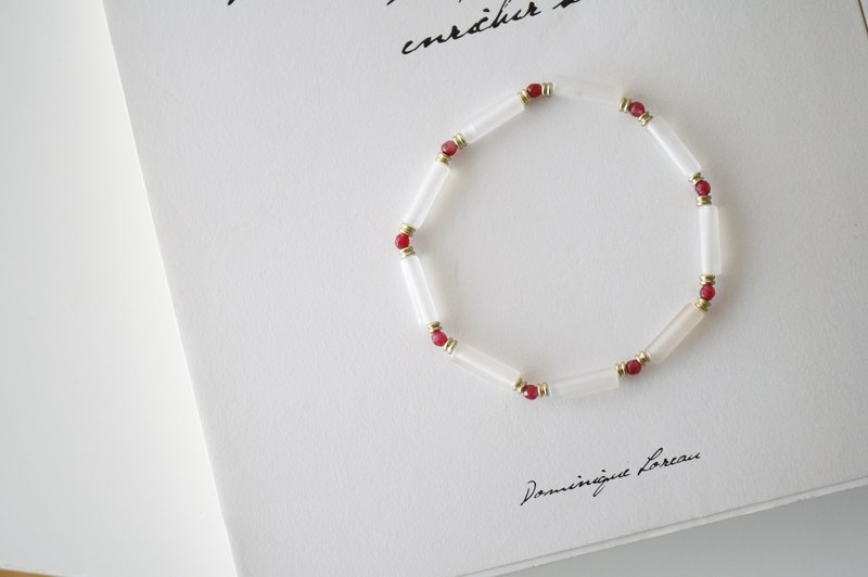 Spring music - white marble x red treasure chalcedony x brass bracelet