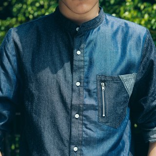 Standing collar, stitched denim shirt (darts X midnight blue)- for men
