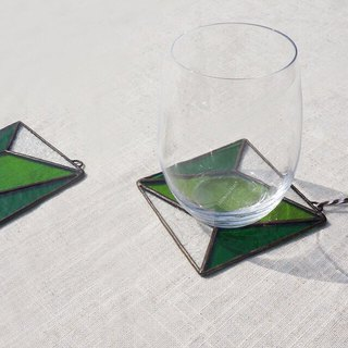 Positive and negative space - four green cup cushion home pad hanging glass mosaic
