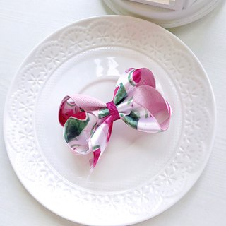 Pink summer watercolor blooming dyed watermelon bow kid child hairpin