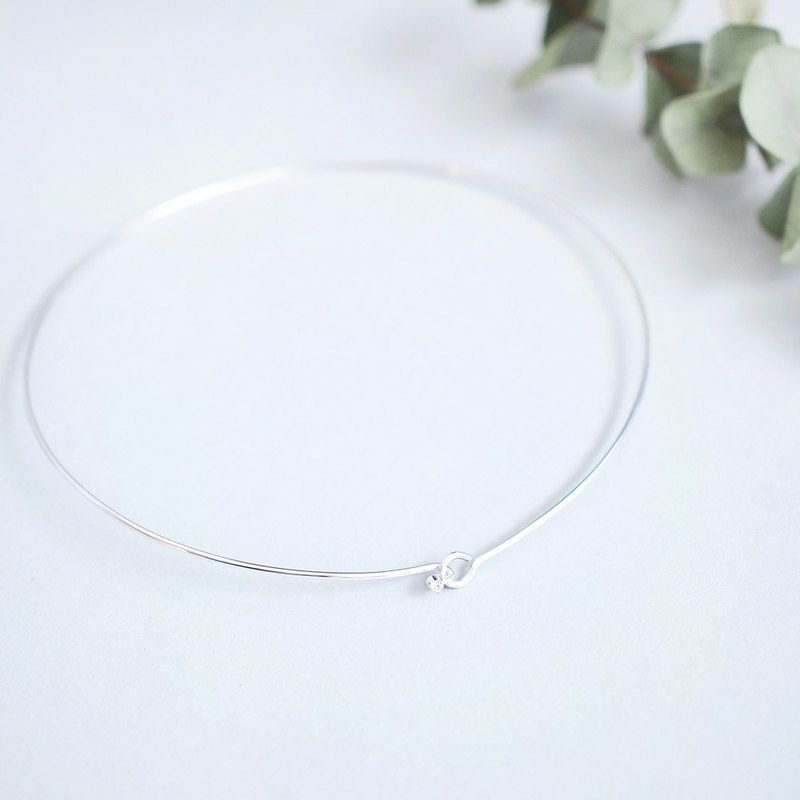 White stone Wire Choker Necklace Silver 925