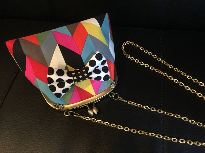 one-of-a-kind 2way kisslock shoulder bag pochette colorful YABANE dots ribbon
