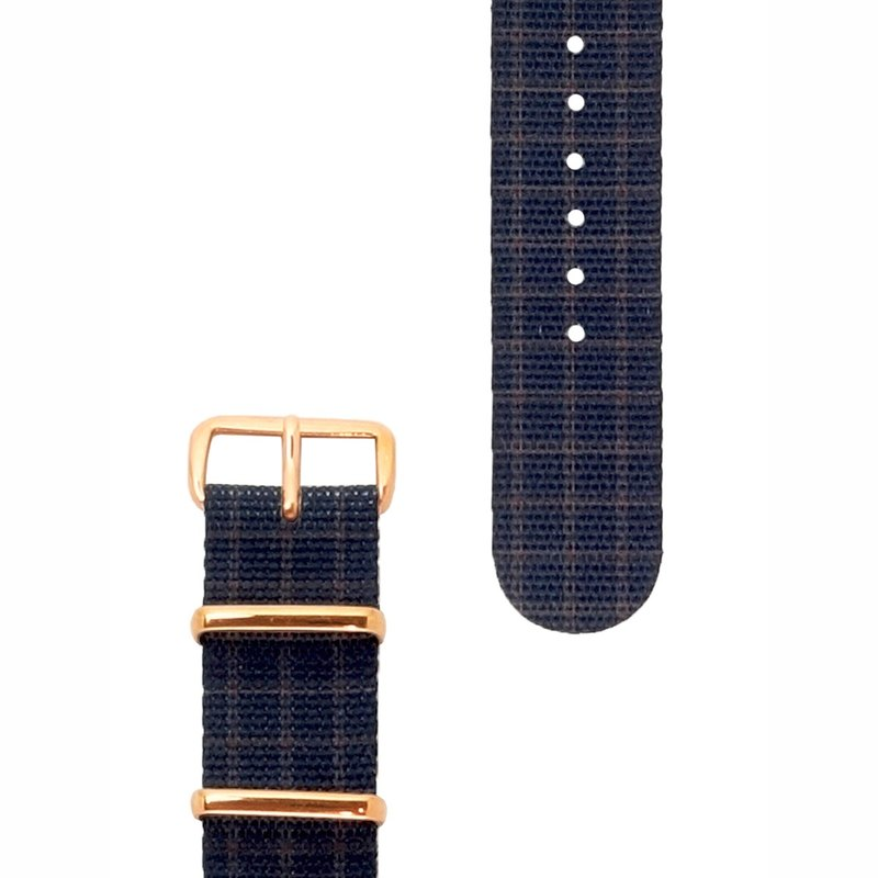 HYPERGRAND Military Strap - 20mm - GOVERNOR Royal Deep Blue Check (Rose Gold Buckle)