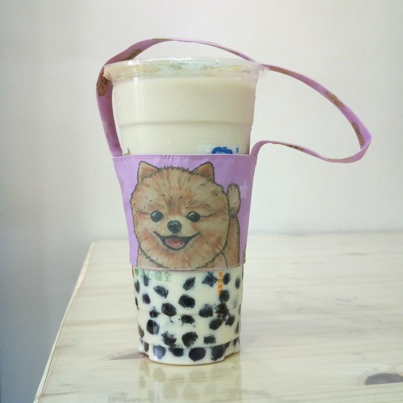 博美-雙面飲料杯套-狗狗素描系列~雙面飲料提袋