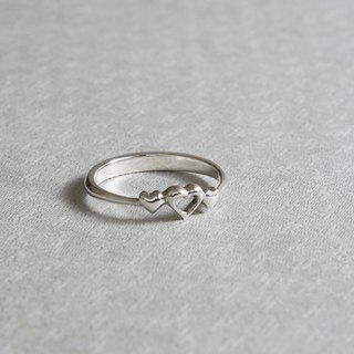 Love with happiness heart ring hand made 925 sterling silver