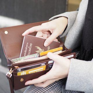 EVE : Long wallet, Dark chocolate wallet, Brown wallet, leather wallet