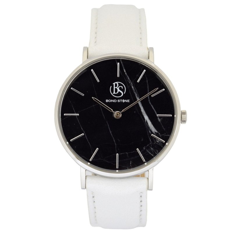 BOND STONE SHINE BLACK MARQUINA White leather belt 36mm Stone Watch