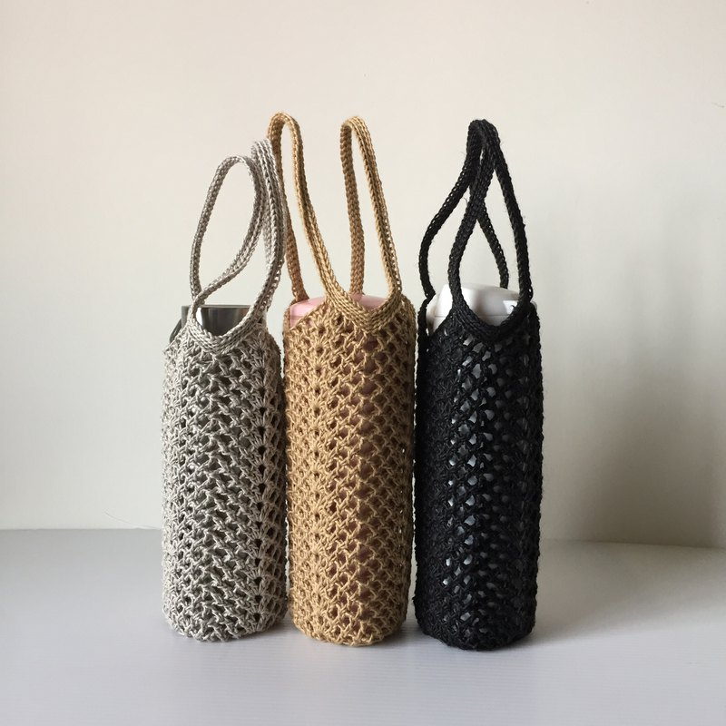 Xiao fabric straight bottle kettle Miya ramie hand-woven double ear bag L