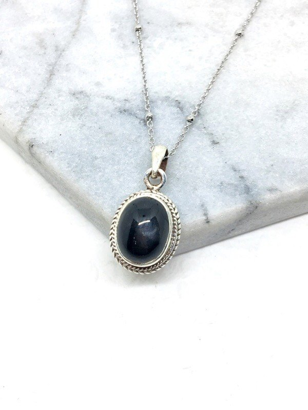 Black Star Stone 925 sterling silver simple style necklace