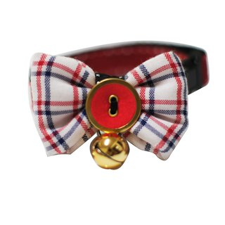 Pet Collar College Plaid Cat/Dog Bowtie S~L