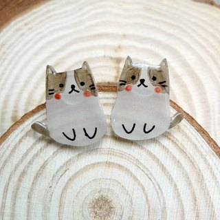 Misssheep-mini cat gray face cat hand-painted cat hand made earrings (ear needle / ear clip) a pair