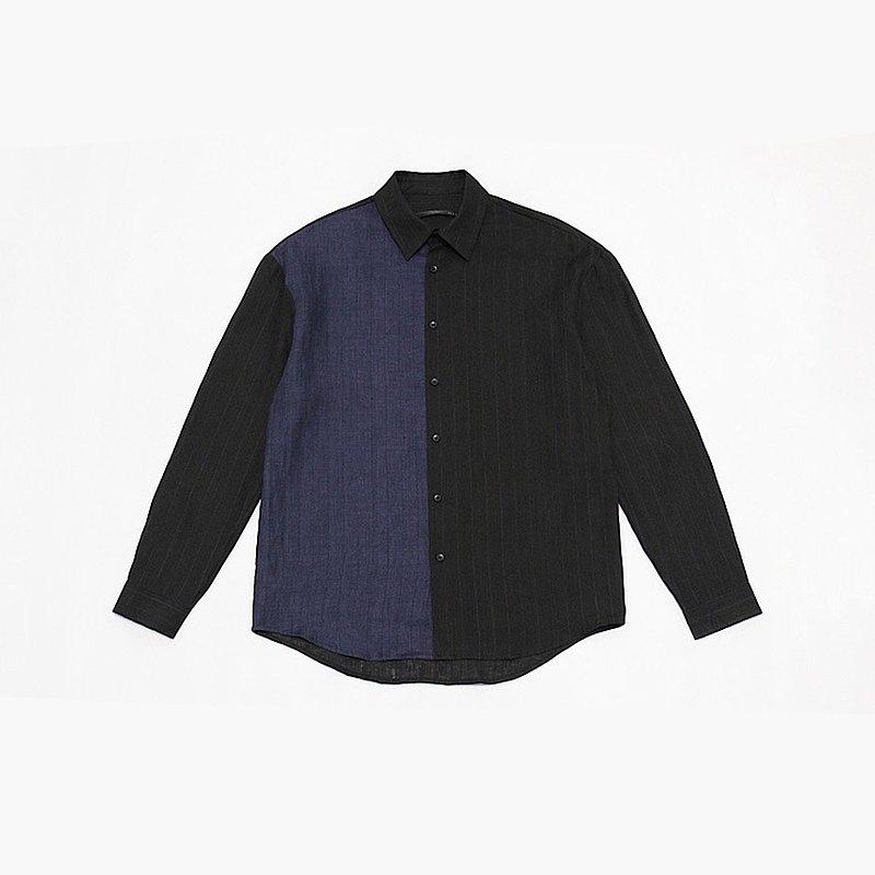 JANWONG VIII 條紋拼接寬鬆版CITYBOY長袖襯衫