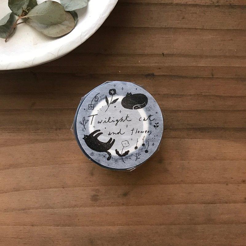 薄暮的貓與花 twilight cat and flowers - 亮面PET膠帶