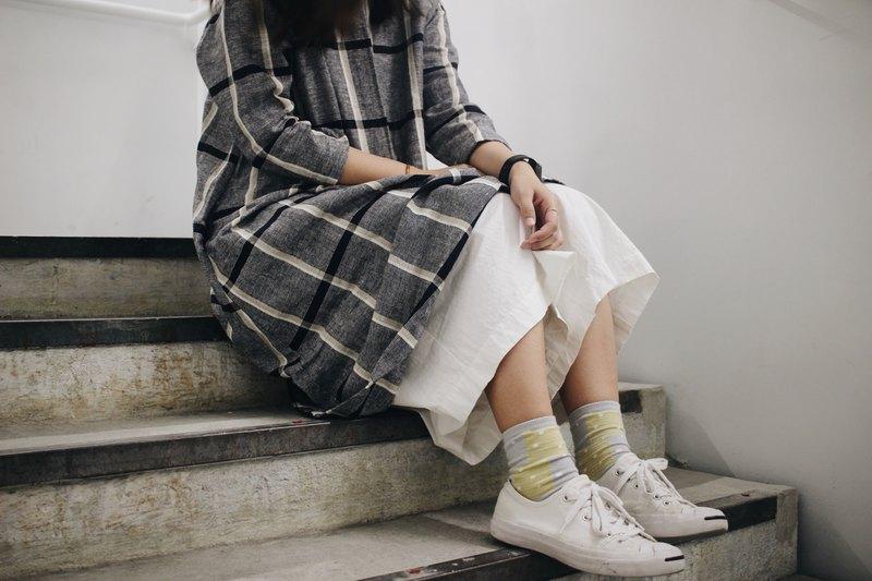 格仔連身裙—灰格