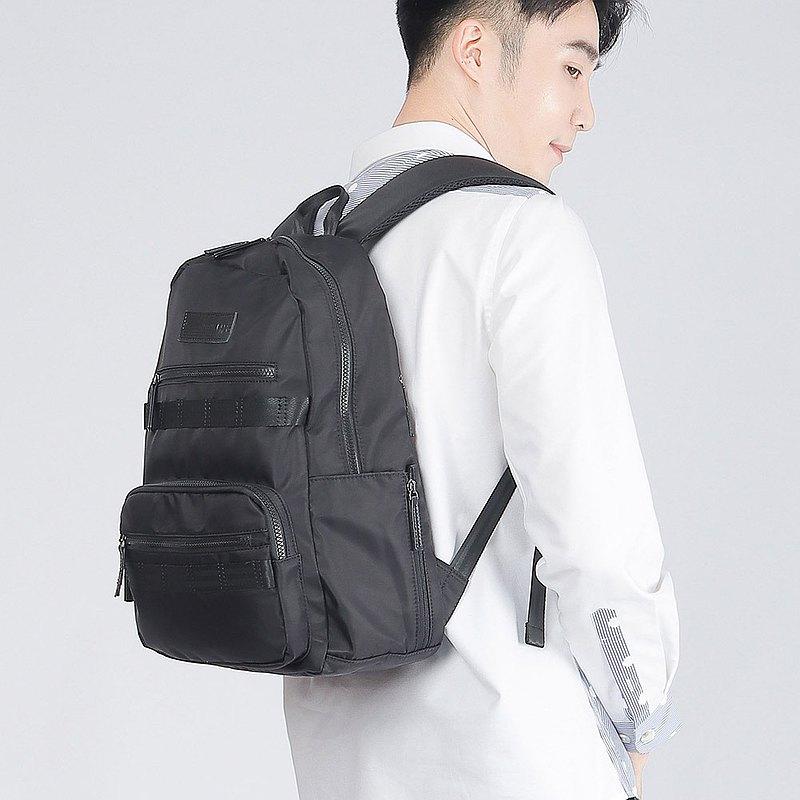 【男友禮物/免運】防潑水尼龍拉鍊筆電男後背包│黑色