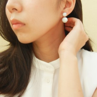 *Coucoubird*925 silver ink pattern double ball earrings