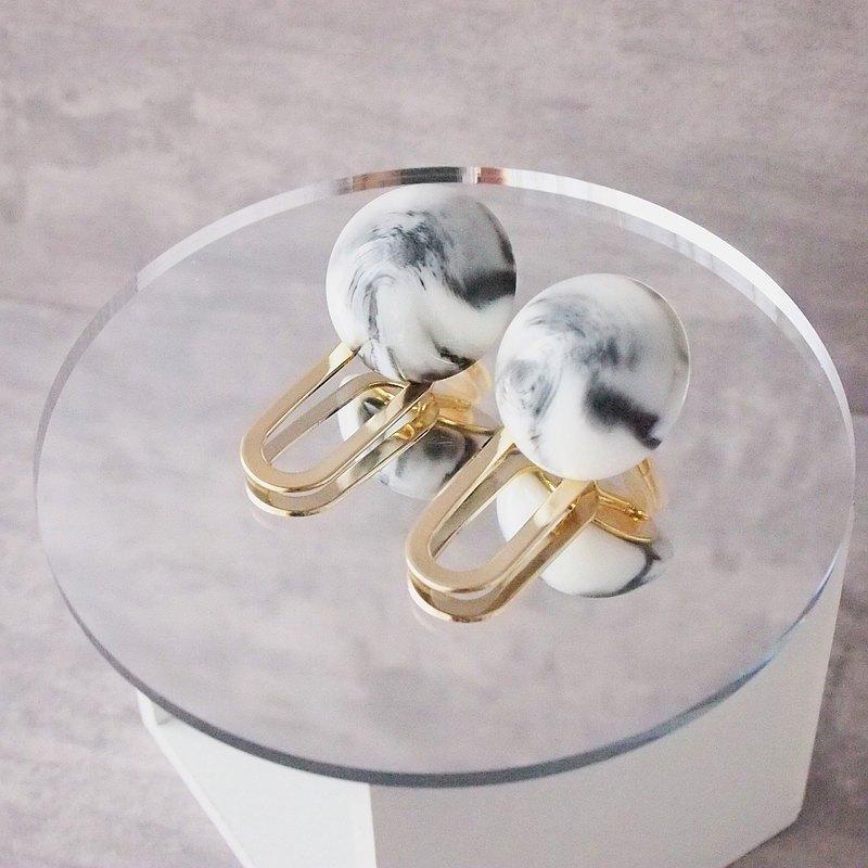 大理石金耳環
