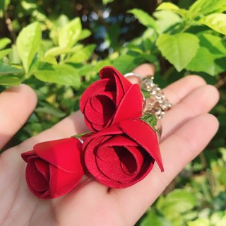 【La Fede】 leather rose bag strap key ring two colors