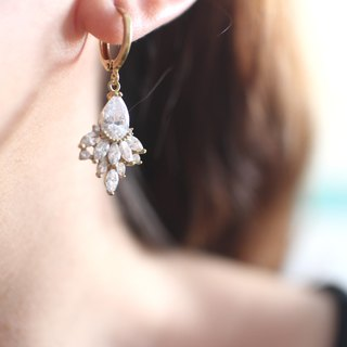 Romance-Brass zircon earrings
