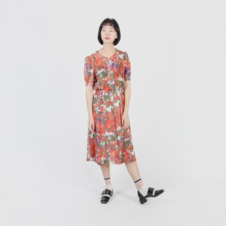 [Egg plant ancient] dream dyed flower valley printed cotton vintage dress